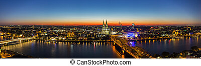 cologne skyline panorama at sunset