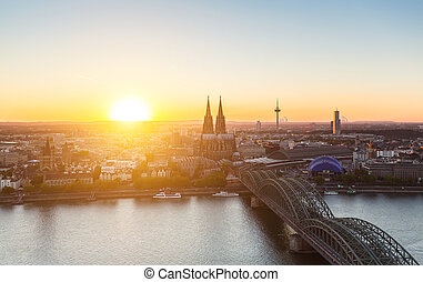 Cologne skyline sunset view