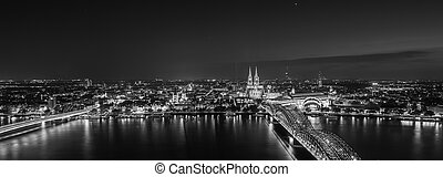 Cologne skyline view at night