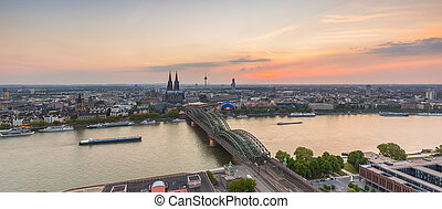Cologne skyline view at sunset