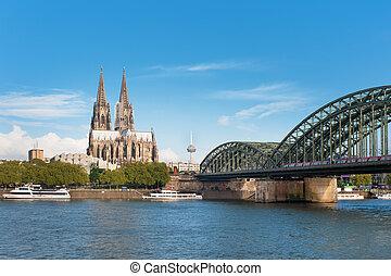 Cologne, sur, vue,  rhein