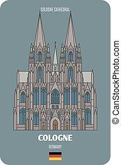 cologne, symboles, villes, germany., cathédrale, architectural, européen, cologne