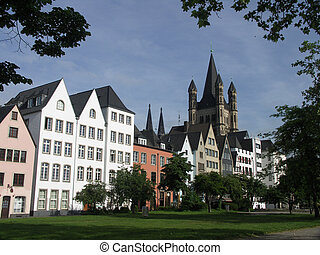 Cologne View - A view of the old city of Cologne in Germany...