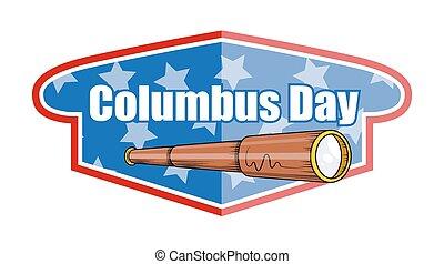 colomb, bannière, jour, télescope
