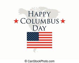 colomb, usa, découvreur, banner., jour, illustration, amérique, drapeau, vecteur, continent, vacances