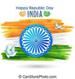 colomba, volare, con, indiano, tricolore, bandiera, esposizione, pace
