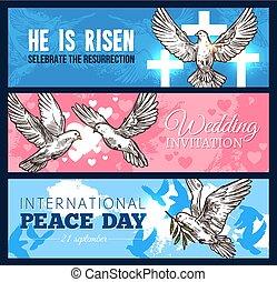 colombe, religion, conception, mariage, bannière, oiseau