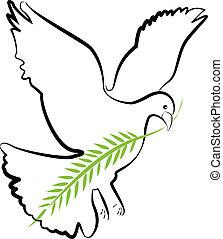 colombe, vecteur, silhouette
