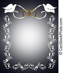 colombes, invitation, mariage, blanc