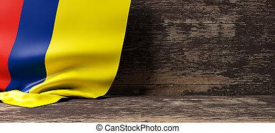 colombia フラグ, 上に, 木製である, バックグラウンド。, 3d, イラスト
