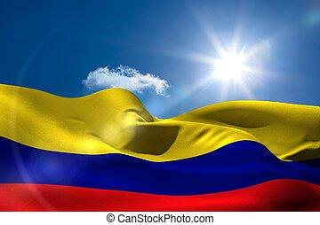 colombia, bandera nacional, debajo, soleado, cielo