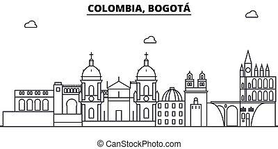 Colombia, Bogota architecture skyline: buildings, silhouette, outline landscape, landmarks. Editable strokes. Flat design line banner, vector illustration concept.