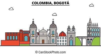 Colombia, Bogota outline city skyline, linear illustration, line banner, travel landmark, buildings silhouette, vector