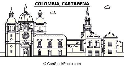 Colombia, Cartagena line skyline vector illustration. Colombia, Cartagena linear cityscape with famous landmarks, city sights, vector design landscape.