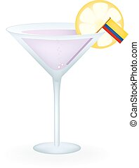 Colombia Cocktail - Cocktail with a flag of Colombia.