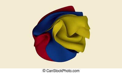 Colombia Flag. Colombia Banner. America South Flags. Celebration. Flag Day. Patriots. Realistic Animation 4K. Surface Texture. Background Fabric.