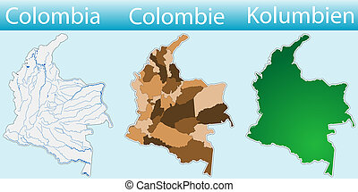 Different maps of the state of colombia.