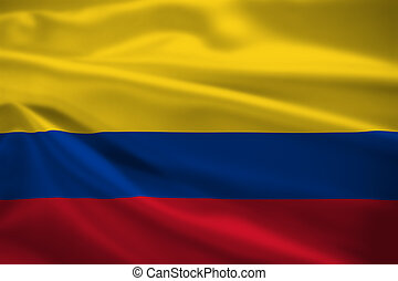 Colombia flag blowing in the wind