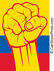 colombia), (flag, colombie, poing