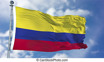 Colombia Flag in a Blue Sky