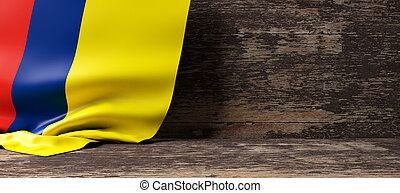 Colombia flag on wooden background. 3d illustration -...