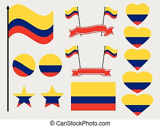 Colombia flag set. Collection of symbols, flag in heart. Vector illustration
