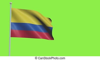 Colombia Flag in 3D render with green screen background in Slow Motion
