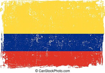 Colombia vector grunge flag isolated on white background.