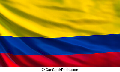Colombia flag. Waving flag of Colombia 3d illustration