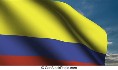 Colombia Flag waving in wind with clouds in background