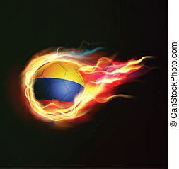 Colombia flag with flying soccer ball on fire isolated black background, vector illustration