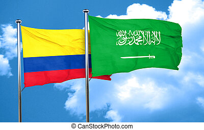 Colombia flag with Saudi Arabia flag, 3D rendering