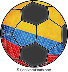 Colombia flag with soccer ball background