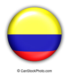 World Flag Button Series - South America - Colombia (With Clipping Path)