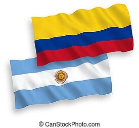 colombia, fondo blanco, banderas, argentina