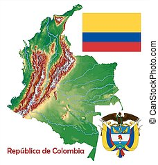 Colombia political map Political map of colombia with clipart