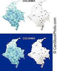 Colombia map in geometric polygonal