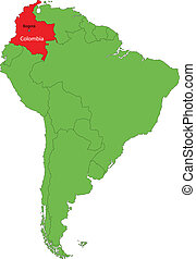 Colombia map - Location of Colombia on the South America...
