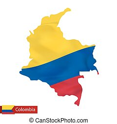 Colombia map with waving flag of country.