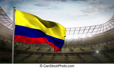 Colombia national flag waving on st