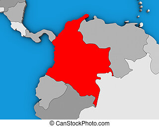 Colombia on 3D map