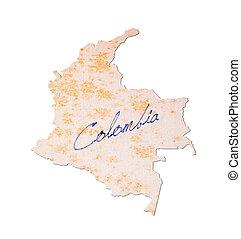 colombia, -, oud, papier, met, handschrift