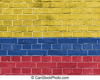 Colombia Politics Concept: Colombian Flag Wall