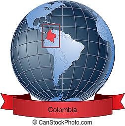 Colombia, position on the globe Vector version with separate...