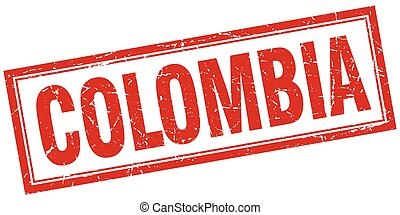Colombia red square grunge stamp on white