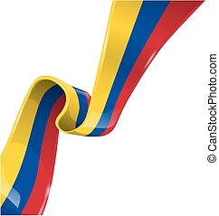 colombia ribbon flag on white background