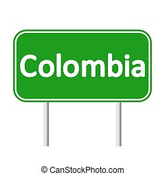 Colombia road sign isolated on white background.