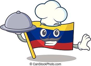 colombia, séf, élelmiszer, kabala, betű, lobogó, alakú