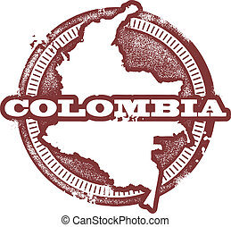 Vintage style Colombia country stamp.