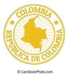 Colombia stamp - Grunge rubber stamp with the name and map...